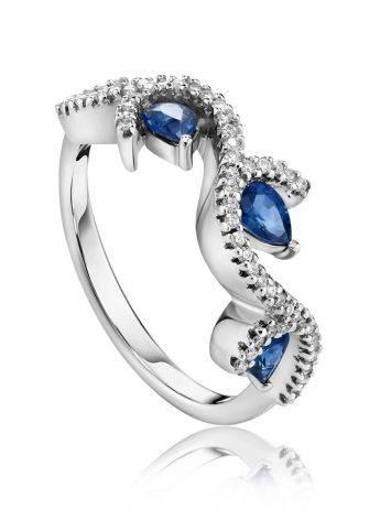 Очаровательное кольцо из белого золота с сапфирами и бриллиантами «Ундина», Размер кольца: 17.5, фото