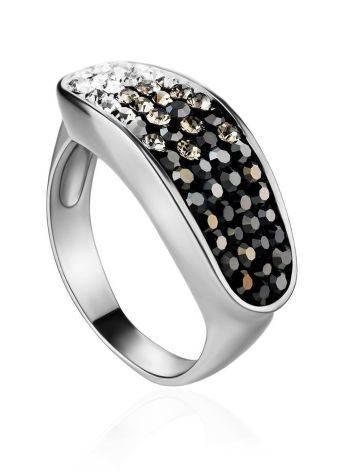 Широкое серебряное кольцо с двухцветными кристаллами Eclat, Размер кольца: 16.5, фото