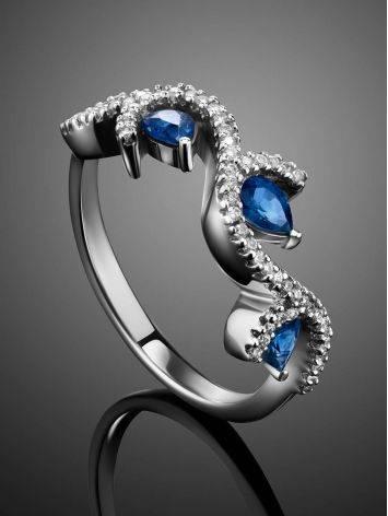 Очаровательное кольцо из белого золота с сапфирами и бриллиантами «Ундина», Размер кольца: 17.5, фото , изображение 2