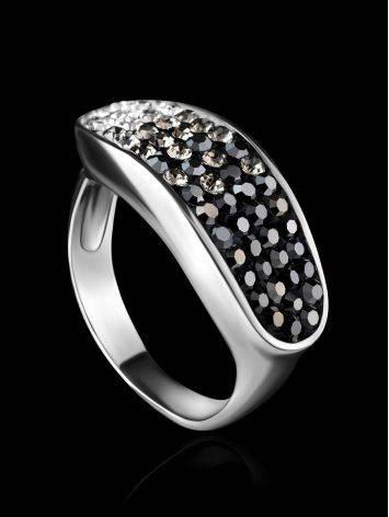Широкое серебряное кольцо с двухцветными кристаллами Eclat, Размер кольца: 16.5, фото , изображение 2
