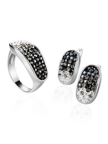 Широкое серебряное кольцо с двухцветными кристаллами Eclat, Размер кольца: 16.5, фото , изображение 4