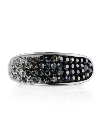 Широкое серебряное кольцо с двухцветными кристаллами Eclat, Размер кольца: 16.5, фото , изображение 3