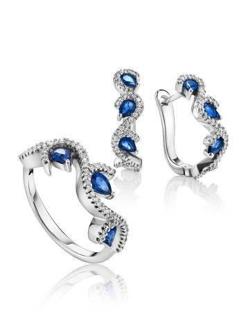 Очаровательное кольцо из белого золота с сапфирами и бриллиантами «Ундина», Размер кольца: 17.5, фото , изображение 4