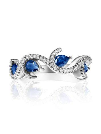 Очаровательное кольцо из белого золота с сапфирами и бриллиантами «Ундина», Размер кольца: 17.5, фото , изображение 3