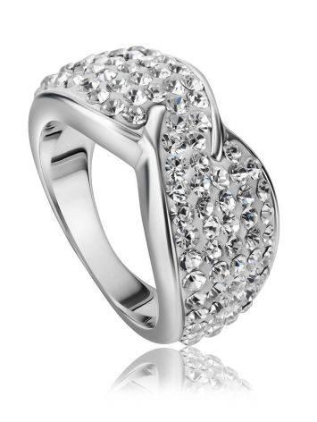 Эффектное серебряное кольцо с белыми кристаллами Eclat, Размер кольца: 16, фото