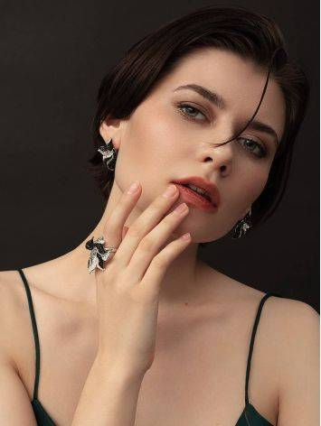 Роскошное серебряное кольцо с кристаллами двух тонов Jungle, Размер кольца: 17, фото , изображение 3