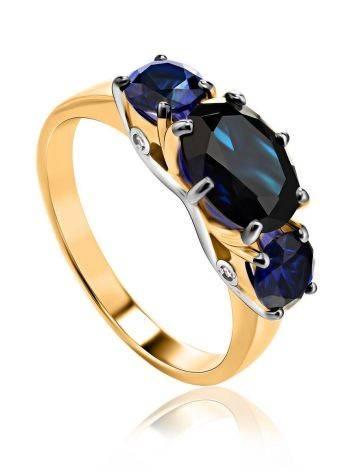Изящное золотое кольцо с сапфирами и бриллиантами «Ундина», Размер кольца: 17.5, фото