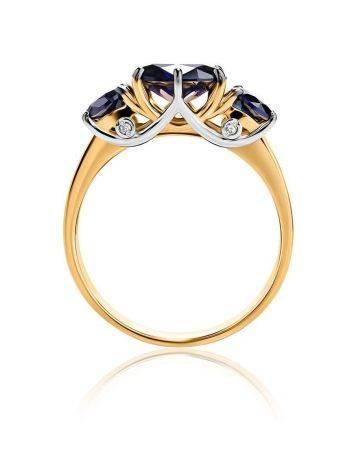 Изящное золотое кольцо с сапфирами и бриллиантами «Ундина», Размер кольца: 17.5, фото , изображение 3