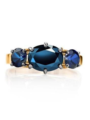Изящное золотое кольцо с сапфирами и бриллиантами «Ундина», Размер кольца: 17.5, фото , изображение 4
