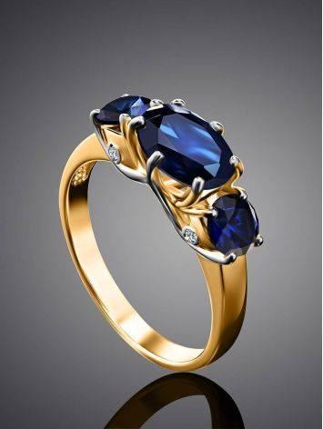 Изящное золотое кольцо с сапфирами и бриллиантами «Ундина», Размер кольца: 17.5, фото , изображение 2