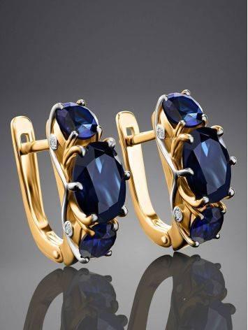 Изящные золотые серьги с сапфирами и бриллиантами «Ундина», фото , изображение 2
