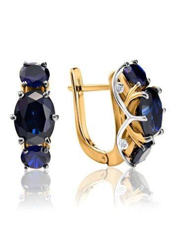 Изящные золотые серьги с сапфирами и бриллиантами «Ундина», фото