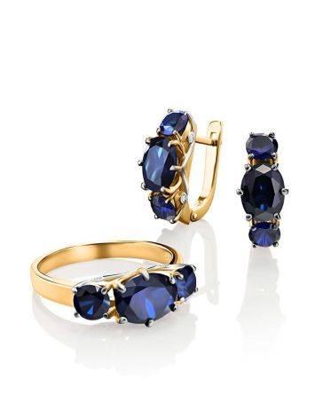 Изящное золотое кольцо с сапфирами и бриллиантами «Ундина», Размер кольца: 17.5, фото , изображение 5