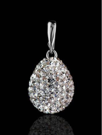 Серебряная подвеска-капелька с белыми кристаллами Eclat, фото , изображение 2