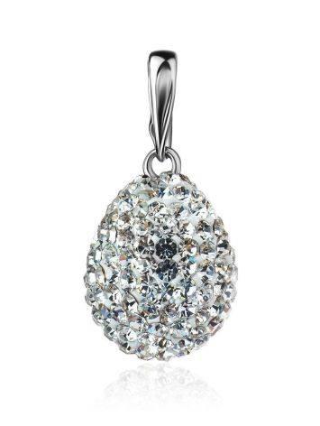 Серебряная подвеска-капелька с белыми кристаллами Eclat, фото