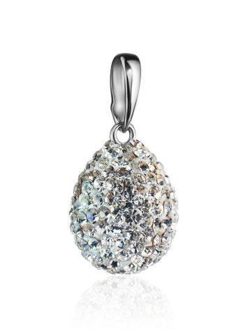 Серебряная подвеска-капелька с белыми кристаллами Eclat, фото , изображение 3