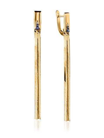 Ультра-длинные тонкие золотые серьги с бриллиантами и сапфирами, фото