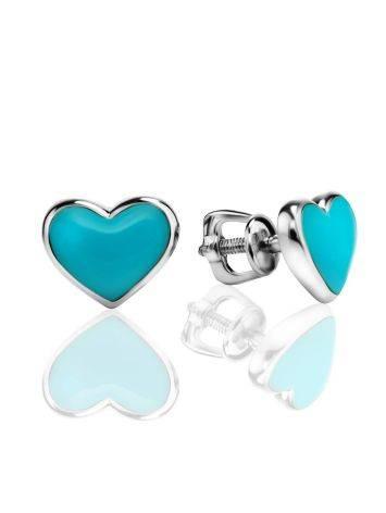 Нежные серебряные серьги-сердечки с голубой эмалью, фото