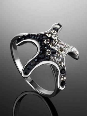 Кольцо с черно-белыми стразами в форме морской звезды Jungle, Размер кольца: 19, фото , изображение 2
