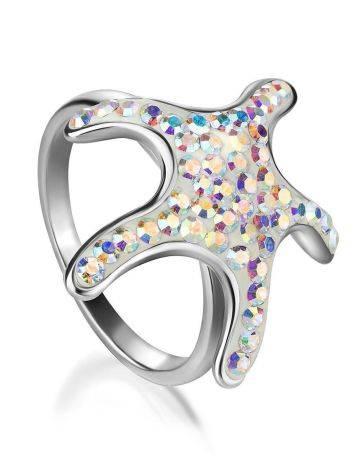 Яркое серебряное кольцо с кристаллами цвета хамелеон Jungle, Размер кольца: 17, фото