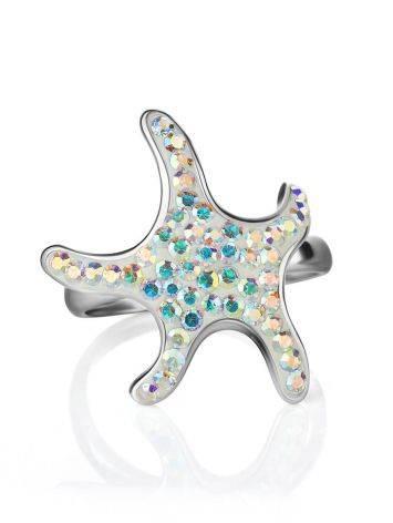 Яркое серебряное кольцо с кристаллами цвета хамелеон Jungle, Размер кольца: 17, фото , изображение 4