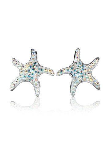 Серебряные серьги с кристаллами в форме морской звезды Jungle, фото , изображение 4