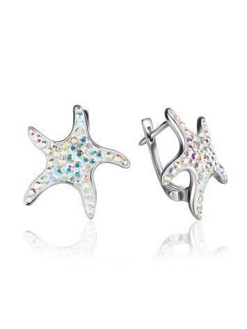 Серебряные серьги с кристаллами в форме морской звезды Jungle, фото