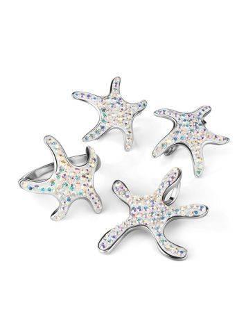 Серебряные серьги с кристаллами в форме морской звезды Jungle, фото , изображение 5