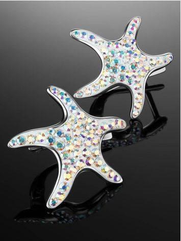 Серебряные серьги с кристаллами в форме морской звезды Jungle, фото , изображение 2