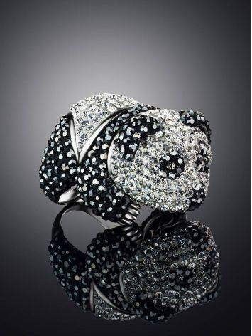 Яркое серебряное кольцо в форме панды с кристаллами Jungle, Размер кольца: 18, фото , изображение 2
