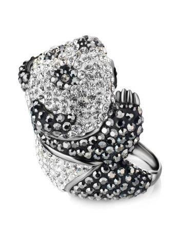 Яркое серебряное кольцо в форме панды с кристаллами Jungle, Размер кольца: 18, фото , изображение 3