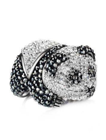 Яркое серебряное кольцо в форме панды с кристаллами Jungle, Размер кольца: 18, фото