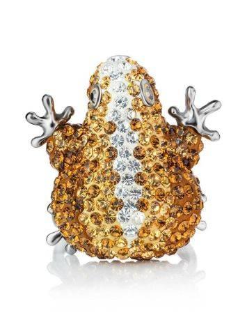 Роскошное серебряное кольцо с кристаллами цвета шампанского Jungle, Размер кольца: 16.5, фото , изображение 3