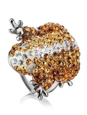 Роскошное серебряное кольцо с кристаллами цвета шампанского Jungle, Размер кольца: 16.5, фото
