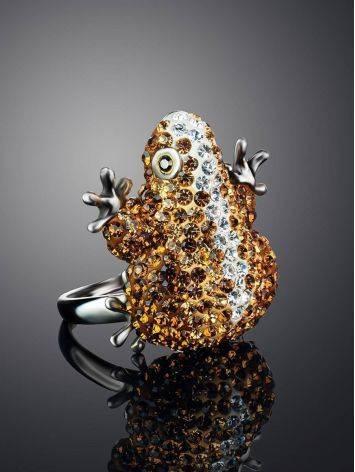 Роскошное серебряное кольцо с кристаллами цвета шампанского Jungle, Размер кольца: 16.5, фото , изображение 2