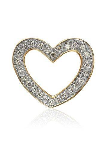 Милая золотая подвеска в форме сердца с бриллиантами, фото