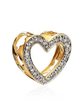 Милая золотая подвеска в форме сердца с бриллиантами, фото , изображение 3