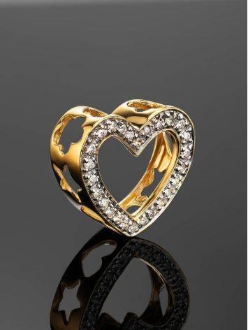 Милая золотая подвеска в форме сердца с бриллиантами, фото , изображение 2
