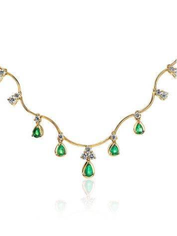 Роскошное золотое ожерелье с изумрудами и бриллиантами «Оазис», фото