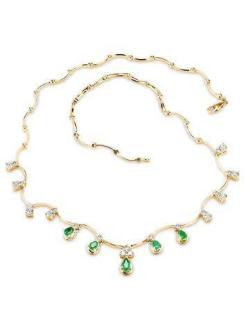 Роскошное золотое ожерелье с изумрудами и бриллиантами «Оазис», фото , изображение 3