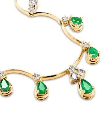 Роскошное золотое ожерелье с изумрудами и бриллиантами «Оазис», фото , изображение 4