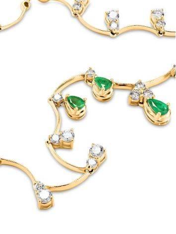 Роскошное золотое ожерелье с изумрудами и бриллиантами «Оазис», фото , изображение 5