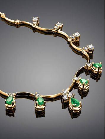 Роскошное золотое ожерелье с изумрудами и бриллиантами «Оазис», фото , изображение 2