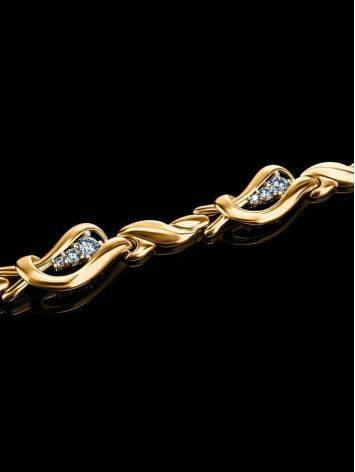 Филигранный золотой браслет с фианитами, фото , изображение 2