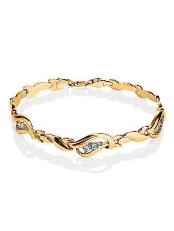 Филигранный золотой браслет с фианитами, фото