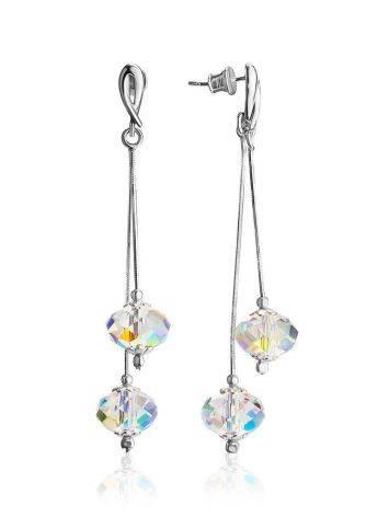 Нарядные серебряные серьги с кристаллами «Мираж», фото