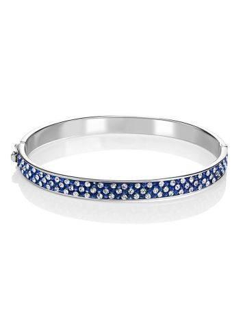 Женственный крупный серебряный браслет с голубыми и белыми кристаллами Eclat, фото , изображение 3