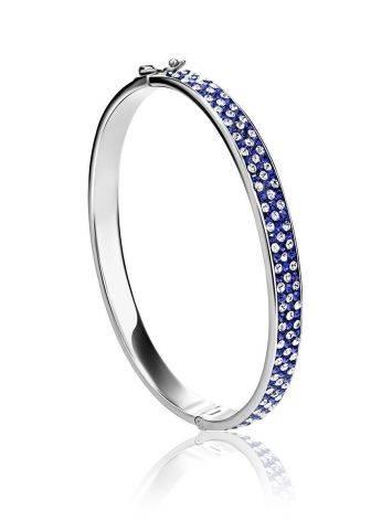 Женственный крупный серебряный браслет с голубыми и белыми кристаллами Eclat, фото