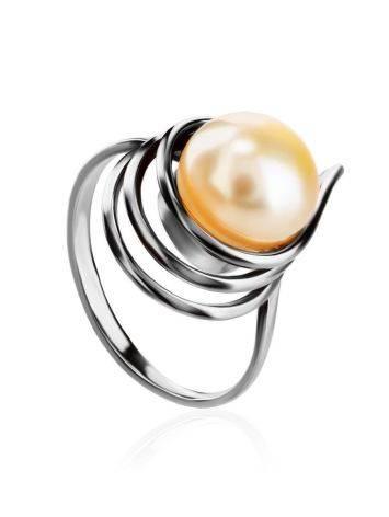 Необычное серебряное кольцо с молочным жемчугом «Ариэль», Размер кольца: 17, фото