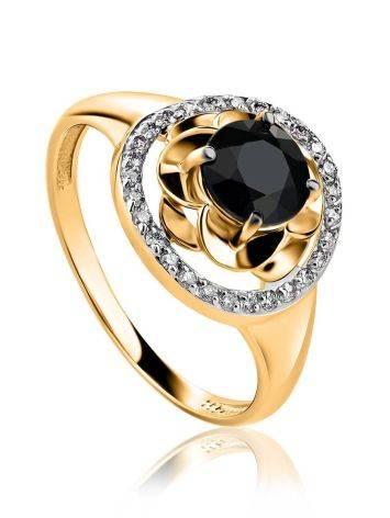 Великолепное золотое кольцо с сапфиром и бриллиантами «Ундина», Размер кольца: 19, фото